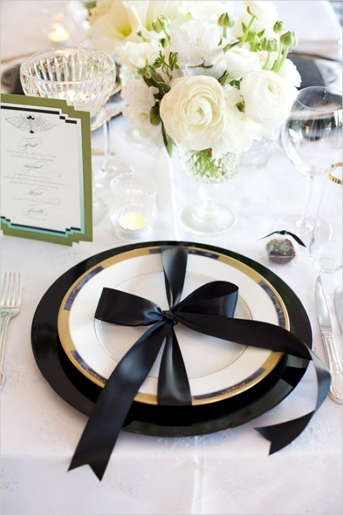 black and white table setting ideas   My Web Value