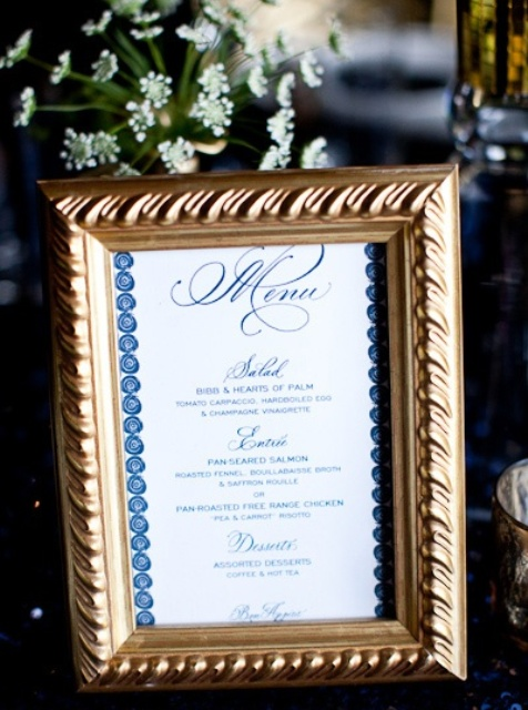 a gold frame with navy and white printing to match the gold navy and gold theme