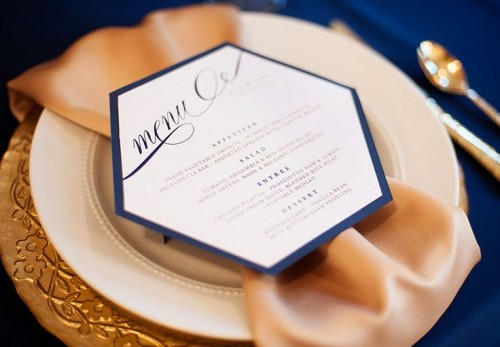 a chic navy, gold, white and blush place setting