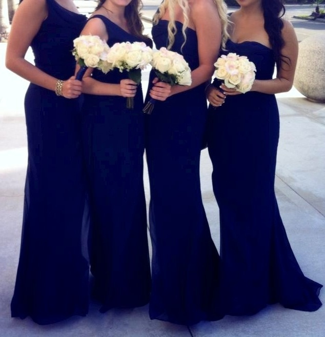 navy strapless and one shoulder maxi mermaid bridesmaid dresses with white bouquets