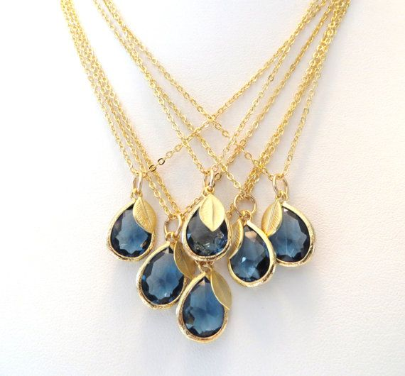 offer gold and navy rhinestone necklaces to your bridesmaids as gifts