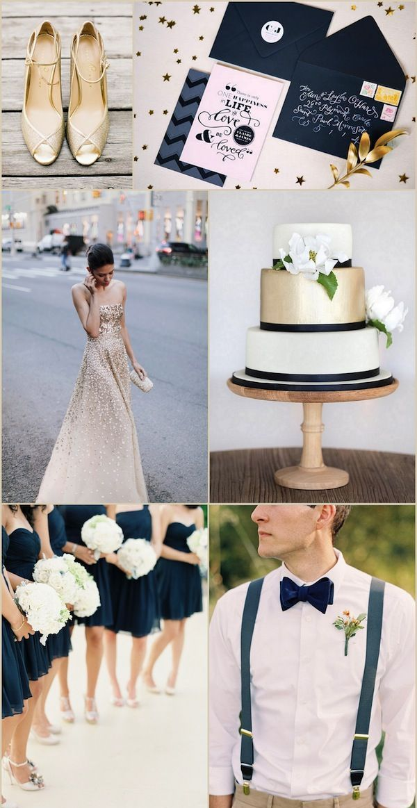navy and gold wedding ideas, from the wedding dress to the wedding cake