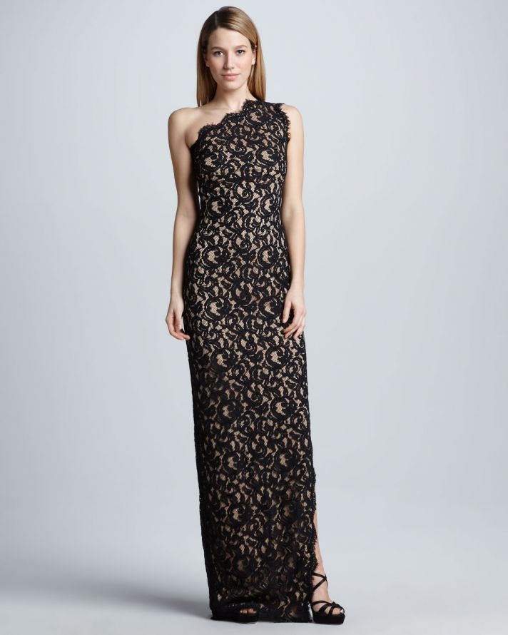 a black lace one shoulder maxi fitting dress is a beautiful and chic mother of the bride option to rock