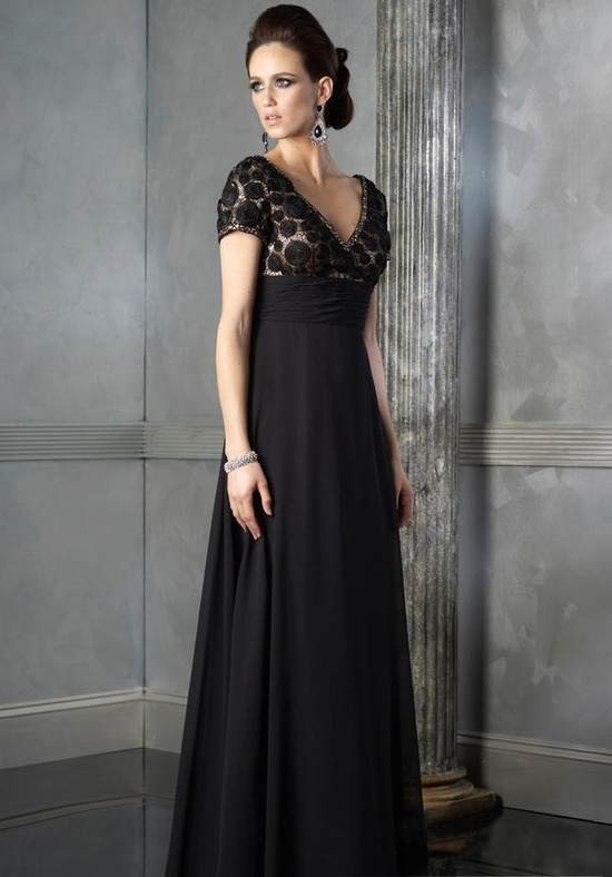 a dramatic A line maxi dress with a lace bodice with short sleeves and a pleated skirt is a lovely and bold idea