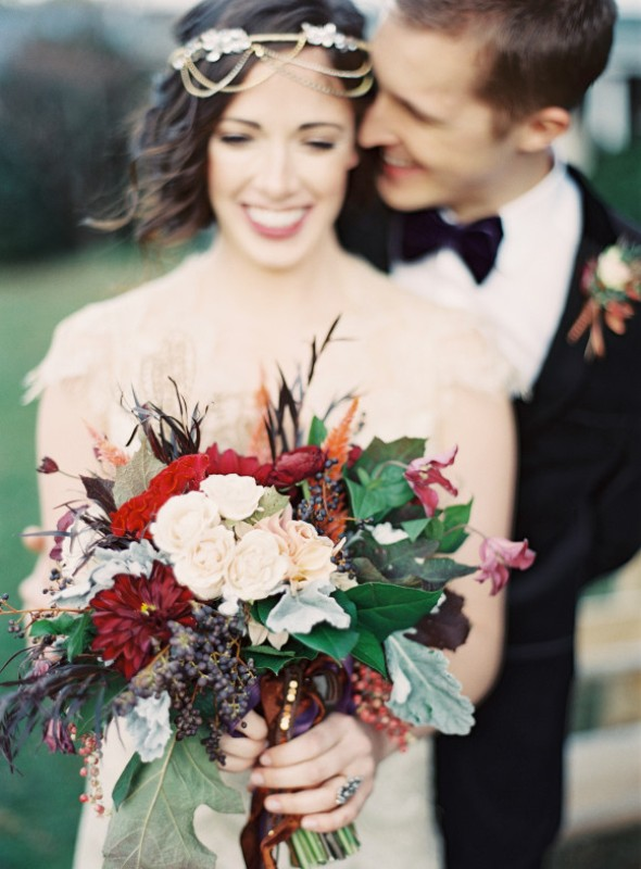 Picture Of elegant plum and gold autumn inspired wedding shoot  1