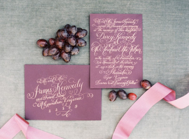 Picture Of elegant plum and gold autumn inspired wedding shoot  10