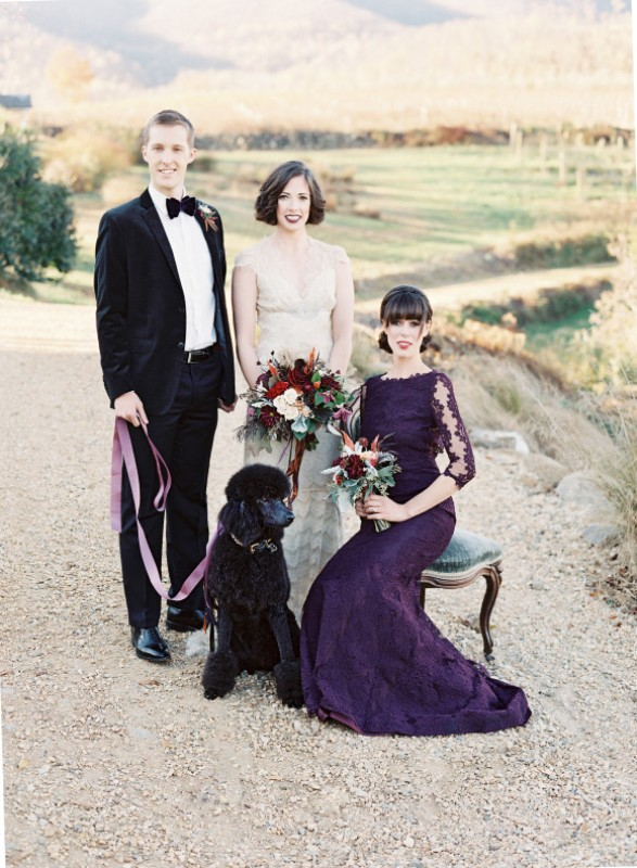 Picture Of elegant plum and gold autumn inspired wedding shoot  11