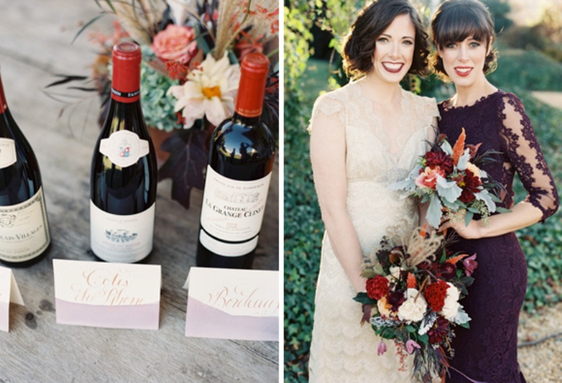 Picture Of elegant plum and gold autumn inspired wedding shoot  18