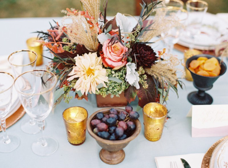 Picture Of elegant plum and gold autumn inspired wedding shoot  19