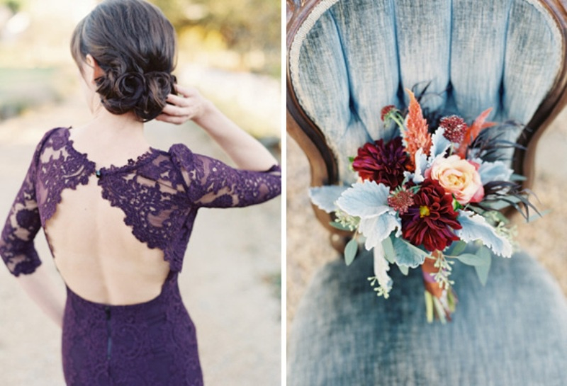 Picture Of elegant plum and gold autumn inspired wedding shoot  2