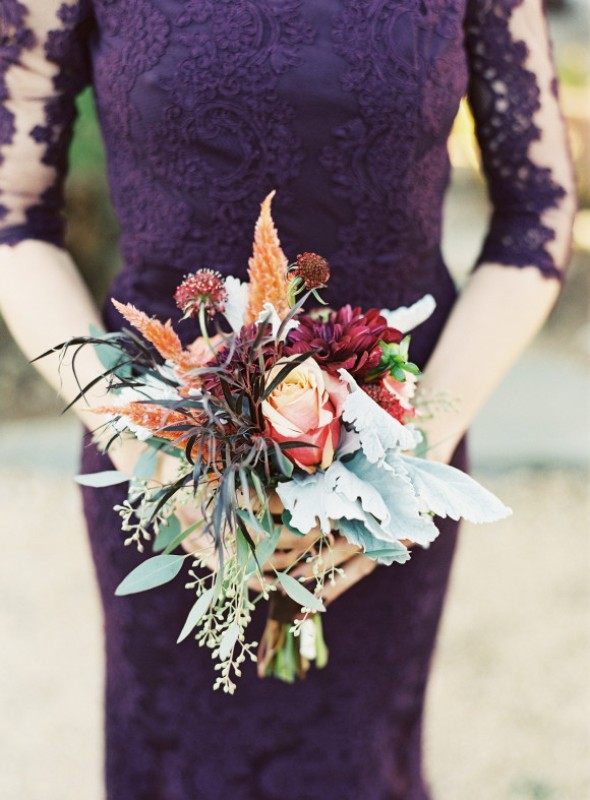 Picture Of elegant plum and gold autumn inspired wedding shoot  20