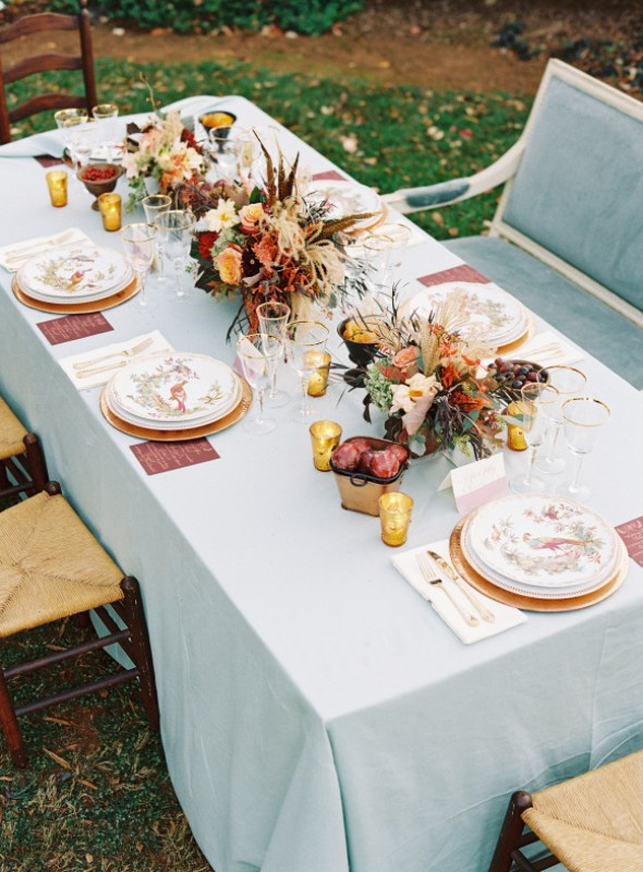 Picture Of elegant plum and gold autumn inspired wedding shoot  22