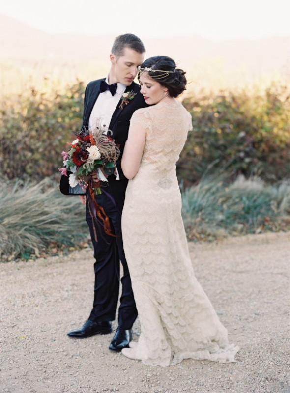 Picture Of elegant plum and gold autumn inspired wedding shoot  23