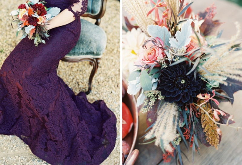 Picture Of elegant plum and gold autumn inspired wedding shoot  24