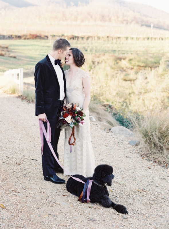 Picture Of elegant plum and gold autumn inspired wedding shoot  4