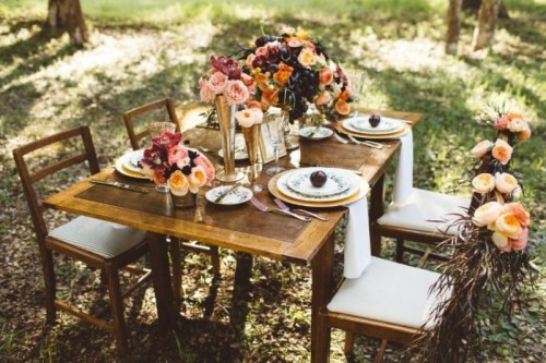 Elegant Rustic Outdoor Fall Wedding Styled Shoot