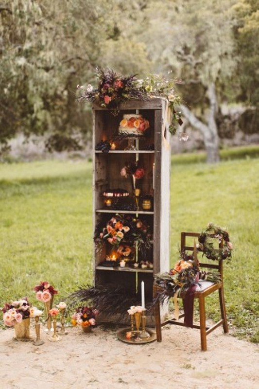 Picture Of elegant rustic outdoor fall wedding styled shoot  11