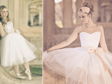 strapless A-line tea length wedding dress with corsets and tulle skirts for a ballerina-like wedding look
