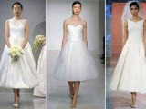tea length A-line wedding dresses with various necklines – illusion, strapless and bateau, silver shoes and veil for a very chic and lovely look