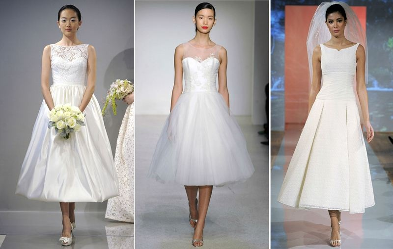 tea length A line wedding dresses with various necklines   illusion, strapless and bateau, silver shoes and veil for a very chic and lovely look