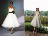 strapless A-line tea length wedding dresses – a white strapless one with a black sash and a fabric bloom, an ivory one of lace and white shoes and gloves