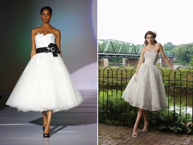 strapless A line tea length wedding dresses   a white strapless one with a black sash and a fabric bloom, an ivory one of lace and white shoes and gloves