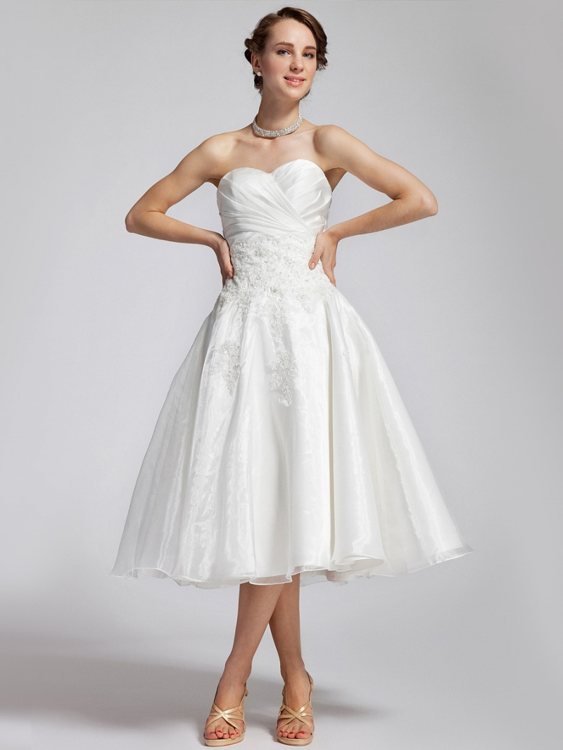 picture of elegant tea length wedding dresses