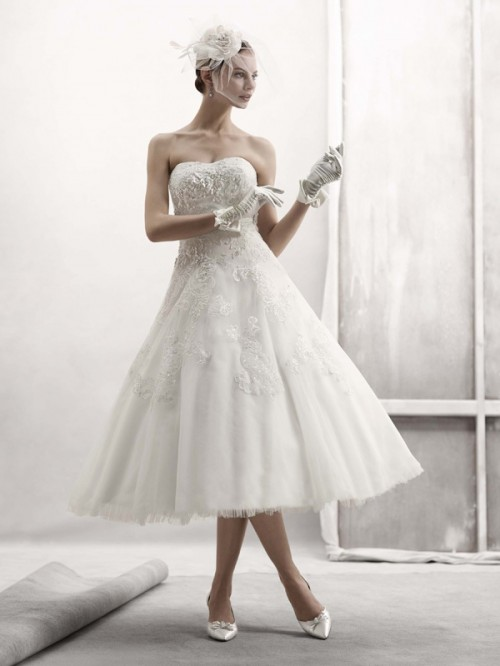 Elegant Tea Length Wedding Dresses