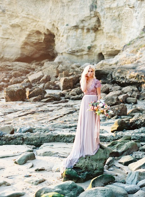 Ethereal Seaside Bridal Shoot With A Lavender Wedding Gown