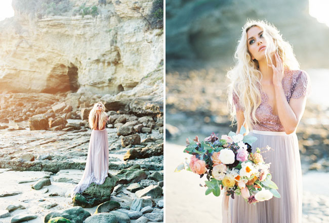 Picture Of Ethereal Seaside Bridal Shoot With A Lavender Wedding Gown 3