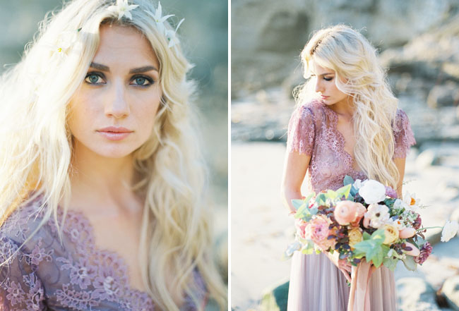 Picture of ethereal seaside bridal shoot with a lavender wedding gown 9 junglespirit