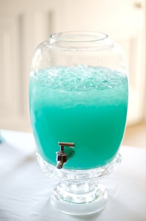 blue punch is a great signature drink for a beach bridal shower