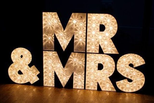gold marquee Mr and Mrs letters are amazing for refined wedding decor for now