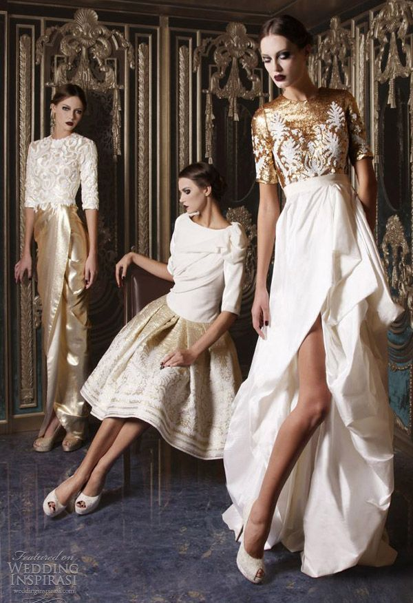 creative two piece bridesmaid dresses in white and gold, with lace applique bodices, a draped top and a gold shiny skirt