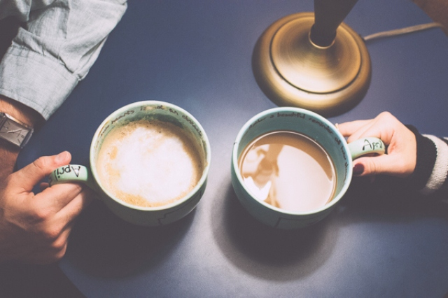 Picture Of extremely cozy coffee shop engagement session  1