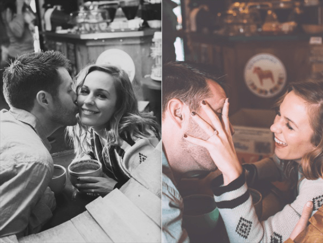 Picture Of extremely cozy coffee shop engagement session  3
