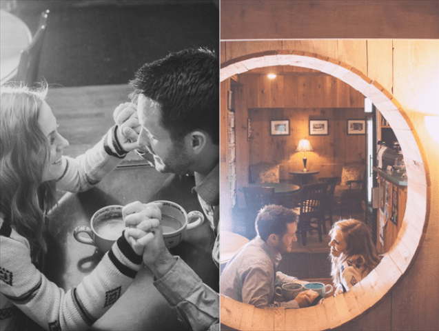 Picture Of extremely cozy coffee shop engagement session  5