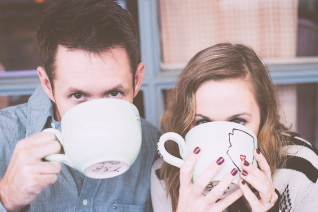Picture Of extremely cozy coffee shop engagement session  7