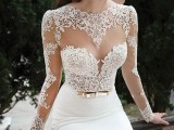 a chic winter wedding dress with a lace illusion bodice, long sleeves and a plain skirt plus a metallic belt