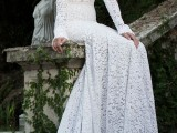 a lace sheath wedding dress with a high neckline, long sleeves and a train is modern classics that always looks chic