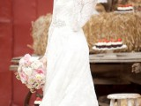 a beautiful vintage-inspired lace A-line wedding dress with a high neckline and long sleeves is timeless classics that everyone loves