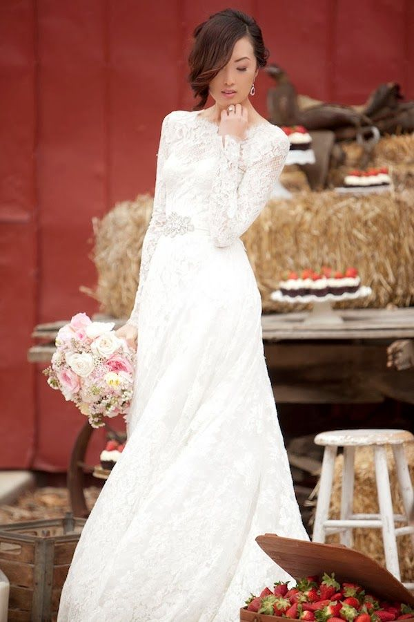 a beautiful vintage inspired lace A line wedding dress with a high neckline and long sleeves is timeless classics that everyone loves