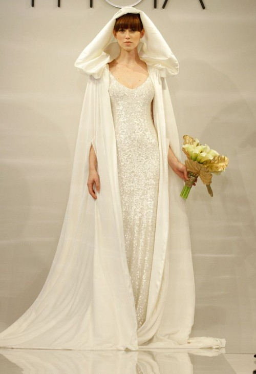 a white sequin slip wedding dress and a capelet with a hood for creating a one-of-a-kind wedding look