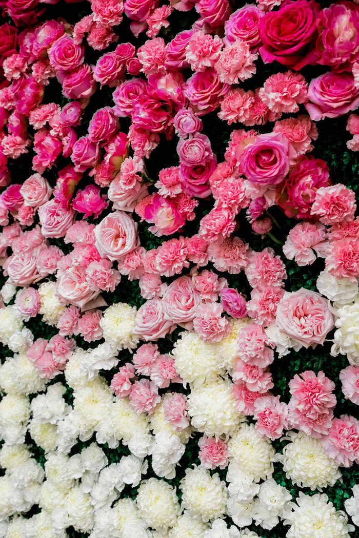 an ombre floral wall from hot pink to blush and white looks really beautiful and trendy