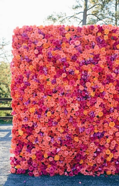 a colorful floral wall with peachy, pink, red and yellow roses is a bold colorful statement for your wedding ceremony