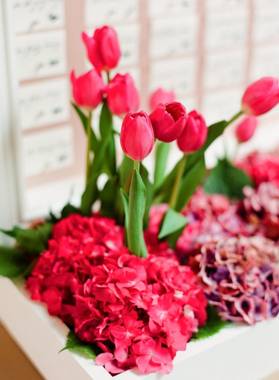 a white box with fuchsia colored tulips and hydrangeas is a bold and bright solution for a spring wedding