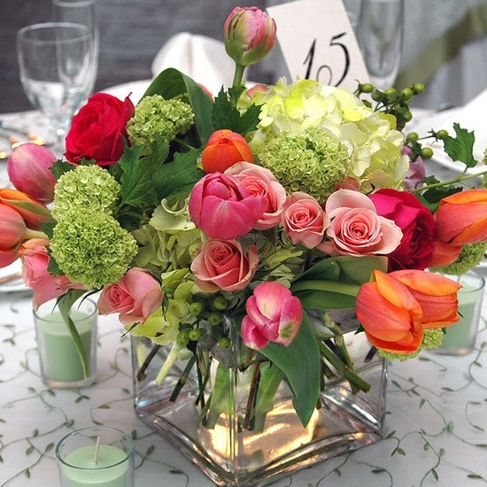 Picture Of A Pink, Red, Orange And Green Floral And