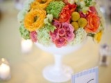 a bold spring wedding centerpiece in marigold, pink, red and yellow plus a white bowl for spring