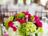 a fuchsia, white and bright green wedding centerpiece will make your spring wedding ultra bright