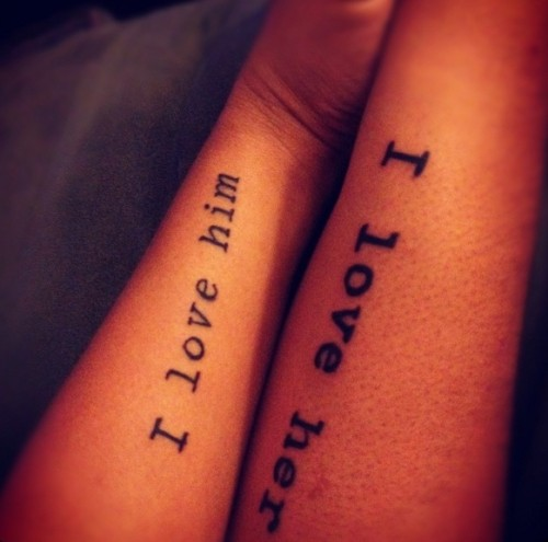 matching text forearm tattoos like these ones are classics that always works
